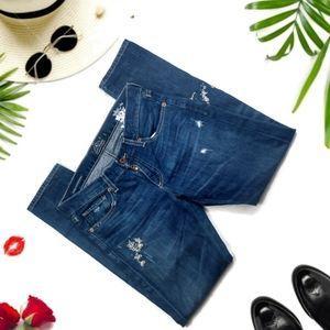 Lucky Sienna Slim Boyfriend Embroidered Jeans